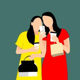 Shopping, kaffe, mobil, kvinnor